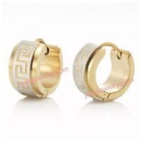 Impressive RnB Stainless Steel Greek Style Mens Hoop Earrings Gold