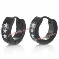 Unique Stainless Steel Star Men's Hoop Earrings Black