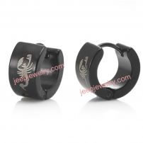 Unique Black Scorpion Style Stainless Steel Hoop Earrings for Men