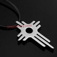 Modern Art Key Cross Tungsten Pendant Mens Rubber Chain