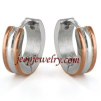 Jewelry Twotone Stainless Steel Hoop Earrings