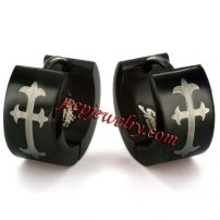 Jewelry Blackplated Stainless Steel Cross Print Hoop Earrings