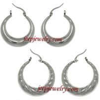 Stainless Steel Polished 2-pair Crescent Hoop Earring Set