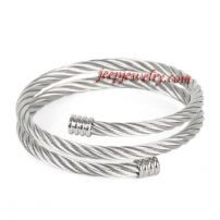 Fashion Womens Silver Tone 316L Stainless Steel 3-Row Rope Cuff Bangle Bracelet