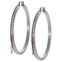 Journee Collection Stainless Steel Cubic Zirconia 50-mm Hoop Earrings