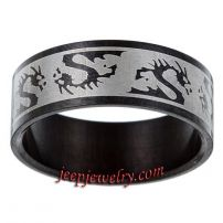 Stainless Steel Black-plated Tribal Dragon Ring