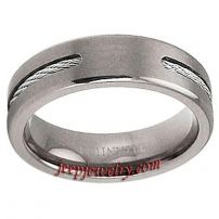 Men\'s Titanium Band with Steel Cable Inlay
