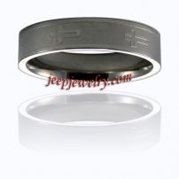 Stainless Steel 'Cross' Brushed and Polished Ring (8 mm)