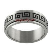 Stainless Steel Greek Key Style Spinner Ring