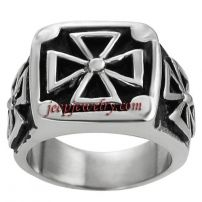 Daxx Stainless Steel Men's Pattee Cross Ring
