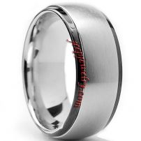 Two-tone Stainless Steel Men?s Dome Ring (8 mm)
