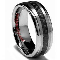 Wholesale Men's Tungsten Carbide band ring with Black Carbon Fiber laser detail