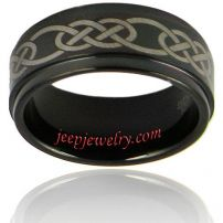 Men's Black-plated Tungsten Lasered Celtic Knot Band (9 mm)