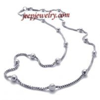 Women's silvery beads stainless steel necklace