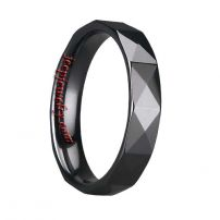 Black Adult Jewelry Ceramic Class Ring With Faceted Rhomb