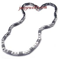 cool men cylindrical stainless steel necklace