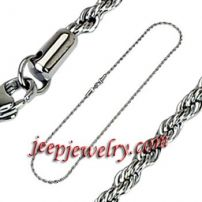 22 Inch 3.7mm- Spikes 316L Stainless Steel Tri-Link Necklace