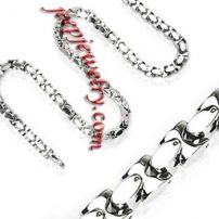 24 Inch 10mm -Spikes 316L Stainless Steel Square Link Necklace