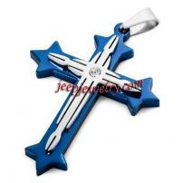 Men's Wisdom Stainless Steel Cross Pendant