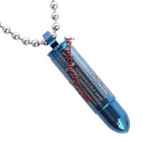 blue color with Solid Stainless Steel Latin Prayer Military Bullet Pendant Necklace - Blue