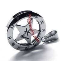 Kayier Jewelry Horoscope Stainless Steel Zodiac Unisex Men\'s Necklace Pisces Pendant - Silver