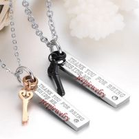 Lovers plate and key pendant stainless steel necklace