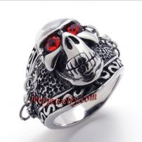 red-eye skull iron chain stainless steel ring