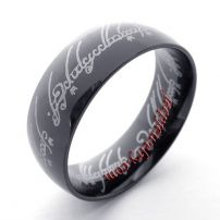 black herringbone stainless steel ring