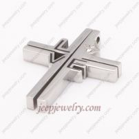 Cool encrusted diamond stainless steel cross pendent