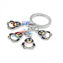 Fashionable tencent QQ mascot penguin-shaped metal keychain stainless steel cute small key rings