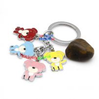 Adorable Girl Style Little Bears-shaped Metal with Key Chains Stainless Steel Modern Key Rings