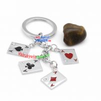 Fashionable cool poker-shaped key chains stainless steel fascinate buffalo bills key rings