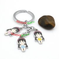 Beautiful Three Cartoon girls Decorations Iron Annulus key chains Personalized Key rings