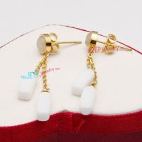 Charming White Beads Pendants Golden Chain of Stainless Steel Fashion Bicycle Earrings