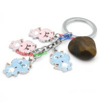 Adorable cute bear-shaped stainless steel key chain novelty digital key rings