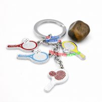 Fashionable and cute little badminton and battledores-shaped metal key chain stainless light key rings