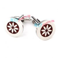 White Charming Flower Pattern Stainless Steel Cufflinks Beaded Jewelry
