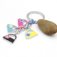 Iron Annulus Key Chain with Four Mini Handbag Decorations Engraved Key Rings