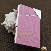 Pink leather with small triangle plate alloy cardcase