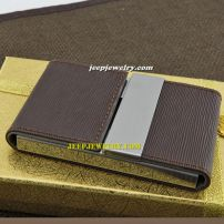 9.8 in length leather with chocolate color alloy cardcase