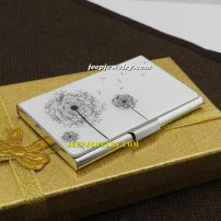 The freedom of dandelionn silver surface stainless steel cardcase