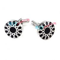 Black & White Charming Flower Pattern Stainless Steel Cufflinks Handmade Jewelry