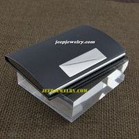 A small plate overlap black leather alloy cardcase