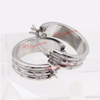 silver cutting stainless steel earrings