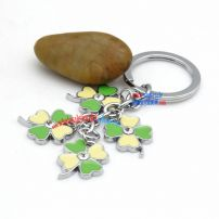 Fresh beautiful four leaves clover-shaped metal keychins stainless steel key rings australia style