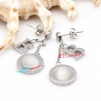 Silver Circle-Shape & Letter-B Pendants of Fashion Stainless Steel Chandelier Earrings