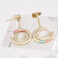 Fashion Jewelry of Unique Dual Golden Circle-Shapes of Stainless Steel Hypoallergenic Earrings