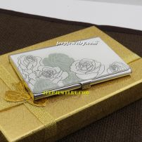 Rose lines pattern designed of romantic stainless steel cardcase