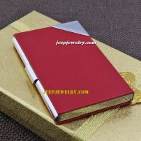 Nine centimeter in length of red surface leather alloy cardcase