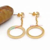 Shiny Hang Golden Circle-Shape Stainless Steel Fashionable Style of Cartilage Earrings